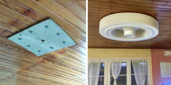 Ventilateur exhale sur plafond fragile