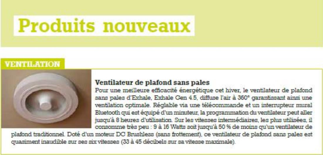 ventilateur Exhale dans magazine Maison et Jardins actuels